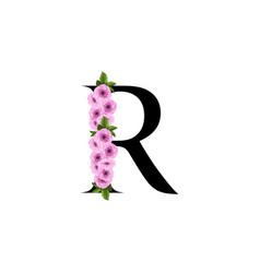 letter r floral ornament vector image