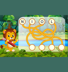 Logic puzzle game for study english with lion vector