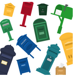 mailboxes letter boxes pedestals for sending and vector image
