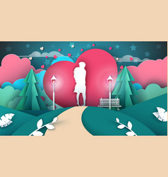man is hugging a girl valentines paper vector image