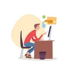 Man sitting in office working with computer vector