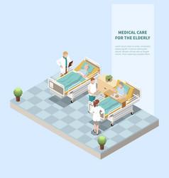 Medical care for elderly isometric background vector