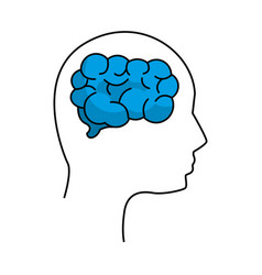Mental health silhouette person with brain vector