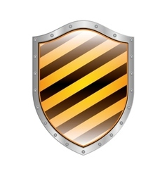 Metallic shield with diagonal stripe vector