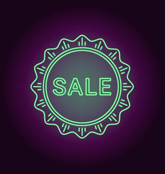 neon banner of green sale badge vector image