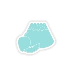 Paper sticker on white background apple cake vector