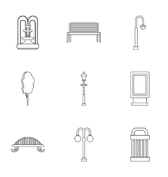 Park equipment icons set outline style vector image