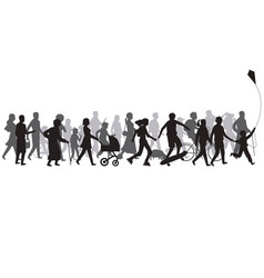people crowd silhouette group person vector image