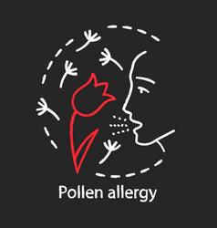 Pollen allergy chalk concept icon hay fever idea vector