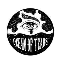 Quote typographical background ocean tears vector
