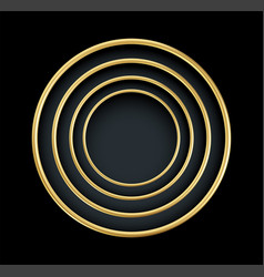 Realistic 3d golden round frame isolated on black vector