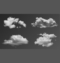 realistic fluffy clouds isolated on transparent vector image