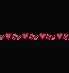 Red brush stroke dotty love hearts with text vector