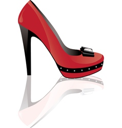 red high heel shoe vector image