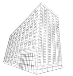 Residential wireframe building on a white vector image