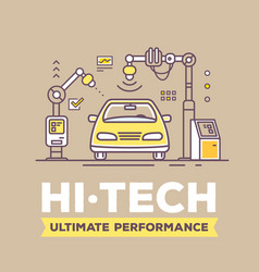 Retro color of golden car high tech vector