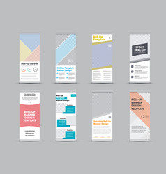 Roll up banner template with color geometric vector