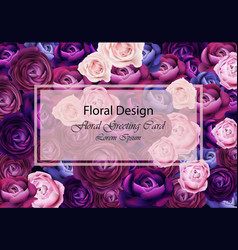Rose flowers card background blue and violet vector