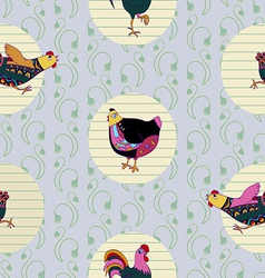 Seamless baby pattern with hen and cock vector image vector image