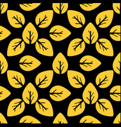 Seamless foliage pattern golden leaf on black vector