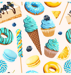 Seamless pattern with blue and yellow sweets vector