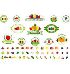 Set fruit and vegetables logo vector