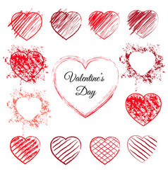 Set of 13 hand drawn hearts vector