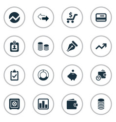 Set simple financial icons vector