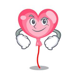 smirking ballon heart character cartoon vector image