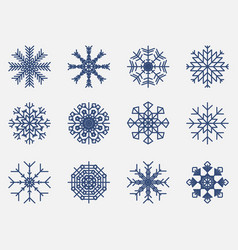 snowflakes set icon isolated on white background vector image