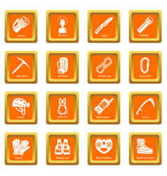 Speleology equipment icons set orange square vector