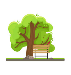 spring tree with a bird on a branch vector image