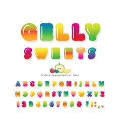 Sweet 3d gelly font cute cartoon letters and vector