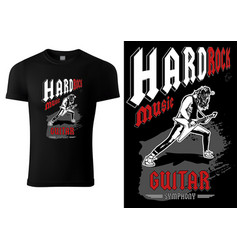 T-shirt with hard rock guitarist vector