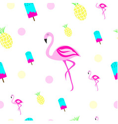 Texture with flamingo ice cream and pineapple vector