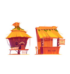 Tiki hut bar hawaii beach wooden construction vector