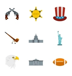 Tourism in USA icons set flat style vector
