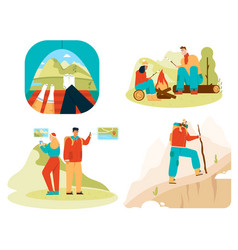 tourists in tent couple hiking traveling scenes vector image