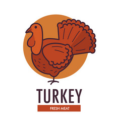 Turkey fresh meat promotional logotype with big vector
