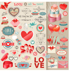 valentines elements vector image