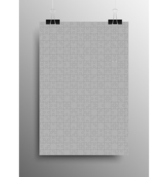 Vertical Poster A4 Puzzle Pieces Grey Puzzles vector