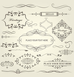 Vintage frames vignettes and calligraphy dividers vector