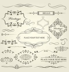 vintage frames vignettes and calligraphy dividers vector image