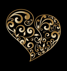 vintage gold ornamental love heart pattern hand vector image