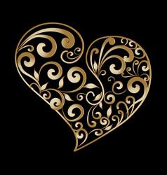 Vintage gold ornamental love heart pattern hand vector