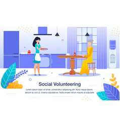 volunteer help to lonely pensioner banner vector image