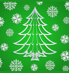 white paper christmas tree on green vector image