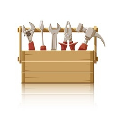 Wooden box with construction vector image