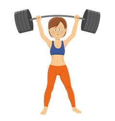 young woman lifting heavy barbell vector image