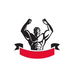 Body Builder Flexing Muscles Banner Retro vector image vector image